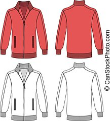 Jacket with zipper - Long sleeve red jacket with zipper...