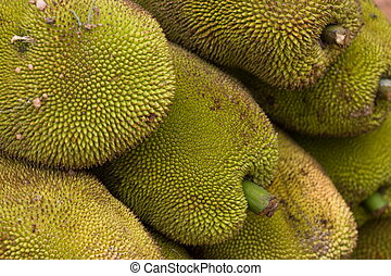 Jackfruit at a fruit stall on the highway.