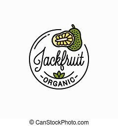 Jackfruit fruit logo. Round linear of jackfruit - Jackfruit ...
