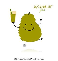 Jackfruit, funny character for your design. Vector...