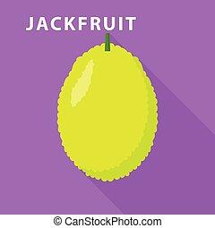 Jackfruit icon, flat style - Jackfruit icon. Flat...