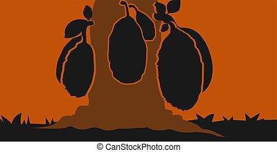 Jackfruit - Illustration of silhouette of jackfruits in the...