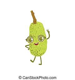 jackfruit, karakter, spotprent, girly