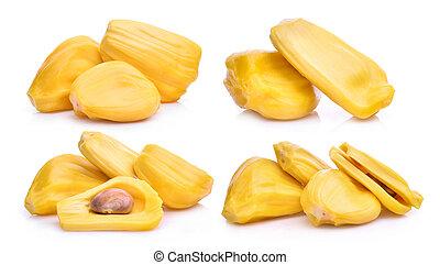 jackfruit, set, maturo, isolato, fondo, bianco