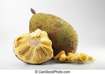 jackfruit - raw fruit jackfruit or artocarpus on the plain...