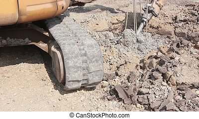 Jackhammer and breaking reinforced - Excavator is breaking...