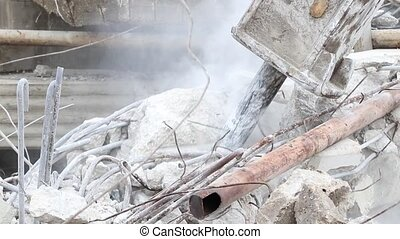 Jackhammer destroying a concrete structure with sound - A...