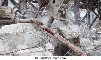 Jackhammer destroying a concrete structure with audio