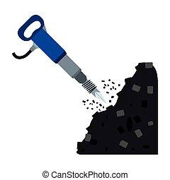 Jackhammer icon in cartoon style isolated on white...