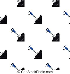 Jackhammer icon in cartoon style isolated on white background. Mine pattern stock vector illustration.