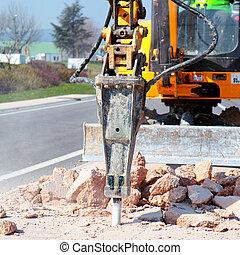 jackhammer, trabalhar, a, estrada