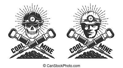 jackhammers, cabeça, mineiro, mina, logotipo