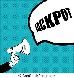 Jackot concept. Megaphone in hand a message blue color Vector EPS 10