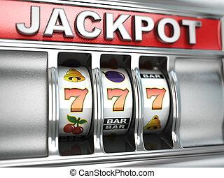 jackpot, 上に, スロットマシン