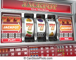 jackpot, 上に, スロット, machine.