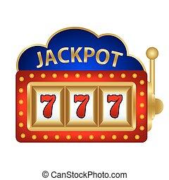 jackpot, 在上, a, 狭缝机器, 矢量