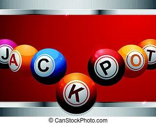 jackpot, 纸牌的赌博, 博彩, 球, 在上, 红, 同时,, 金属, 面板