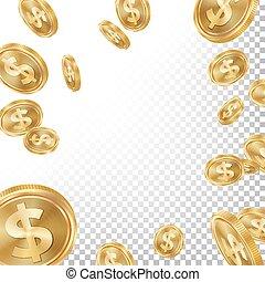 jackpot, 胜利者, 背景, vector., 落下, 爆炸, 金币, illustration., 为,...