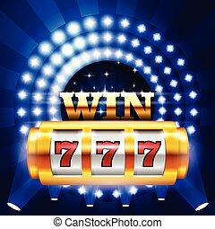 jackpot, -, 777, 在上, 娱乐场, 狭缝机器, 大, 取得胜利, 同时,, 赌博, 概念