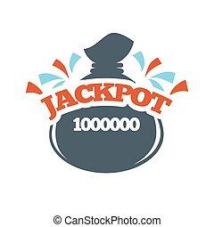 Jackpot bingo lotto win money bag lottery vector icon