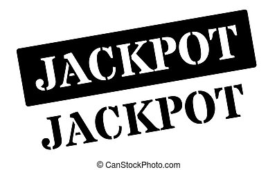 Jackpot black rubber stamp on white