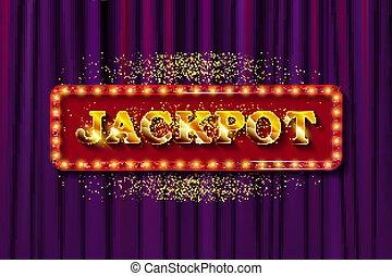 jackpot, blank, banner, retro, zeichen