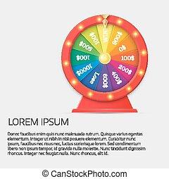 jackpot, fortuin, wheel., concept, winnen, casino, illustratie, het spinnen, geluksspelletjes