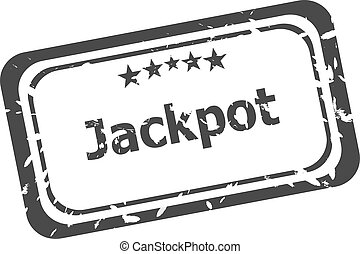 Jackpot grunge rubber stamp on white background