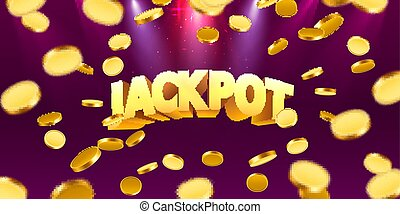 Jackpot in the form of gold coins. Isolated on red background. Vector