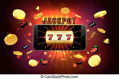 jackpot lucky wins golden slot machine casino on mobile phone with light background