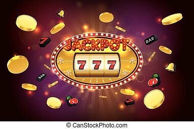 jackpot lucky wins golden slot machine casino with light background