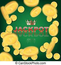 jackpot, muntjes, word., achtergrond., vector, groene achtergrond, casino, het vallen