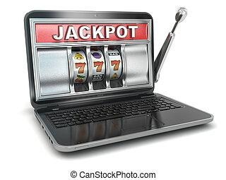 jackpot., online, gluecksspiel, concept., laptop, steckplatz, machine.