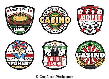 jackpot, pook, premie, club, casino teken, geluksspelletjes