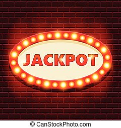 Jackpot retro banner template with glowing
