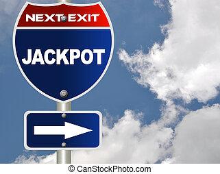 Jackpot road sign
