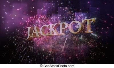 Jackpot Sign against a fireworks display - Digital composite...