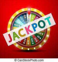 Jackpot Symbol with Wheel of Fortune on Red Background - Vector