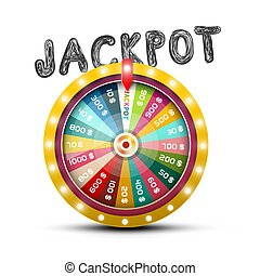 Jackpot Symbol with Wheel of Fortune Vector Design