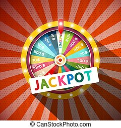 Jackpot Title with Wheel of Fortune on Vintage Background