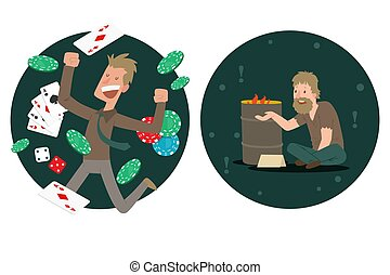 Jackpot winner compared to homeless man, rich and poor people cartoon characters, vector illustration