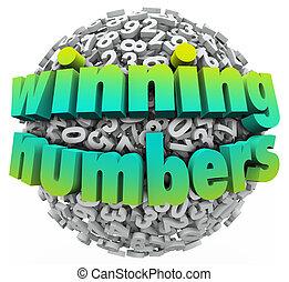 jackpott, boll, lotteri, vinnande, lek, numrerar, sweepstake