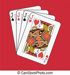 Jacks poker on red background