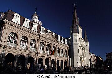 jackson, bâtiments, historique, carrée