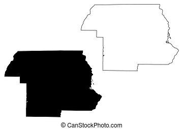 Jackson County, Florida (U.S. county, United States of America, USA, U.S., US) map vector illustration, scribble sketch Jackson map