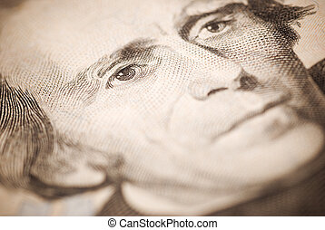 Jackson - dollar closeup ,selective focus on eye toned
