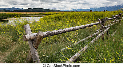 A view of the Grand Tetons from an old abandoned farm in Wyoming.