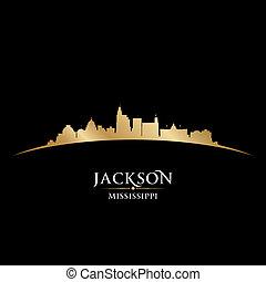 Jackson Mississippi city skyline silhouette black background...