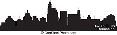 Jackson, Mississippi skyline. Detailed vector silhouette