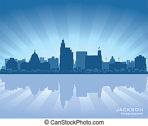 Jackson, Mississippi skyline illustration with reflection in water